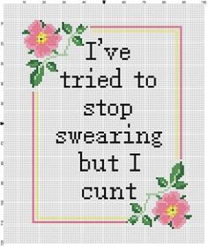 I've tried to stop swearing but I cnt Snarky Mature image 2 Cross Stitching, Cross Stitch Embroidery, Embroidery Patterns, Funny Cross Stitch Patterns, Cross Stitch Designs, Naughty Cross Stitch, Cross Stitch Quotes, Crafty, Funny Memes