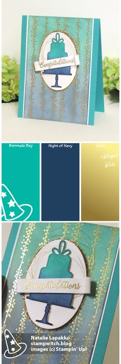 Homemade card by Natalie Lapakko featuring Celebration dies and ombre sponging on Bundle of Love DSP from Stampin' Up! Color inspiration: Bermuda Bay, Night of Navy, gold