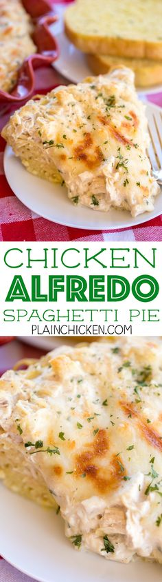 Chicken Alfredo Spaghetti Pie - a great twist to traditional spaghetti pie! Chicken, Alfredo sauce, spaghetti, eggs, parmesan cheese, mozzarella. SO good! Everyone raved about this pasta casserole!! Can make ahead and refrigerate or freeze for later.