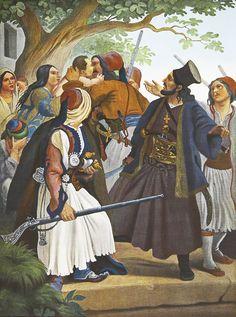 Λεύκωμα : Το Ηρώον του Αγώνος - Αθανάσιος Διάκος.Πρόκειται για ανατύπωση τετραχρωμίας του πίνακα του Von Hess με θέμα τον αγωνιστή του 21 Αθανάσιο Διάκο ο οποίοσ βρήκε μαρτυρικό θάνατο (σουβλίστηκε) μετά την συλληψή του από τους Τούρκους στη γέφυρα της Αλαμάνας του Σπερχειού ποταμού έξω από την Λαμία.Ο γερμανός ζωγράφος Peter Von Hess φιλοτέχνησε κατά το διάστημα 1827-1834, 40 λιθογραφίες με θέματα από την Ελληνική Επανάσταση Greek Traditional Dress, Greek Independence, Military Art, Military Uniforms, Greek Warrior, Gothic Furniture, Greek History, Folk, Sketches