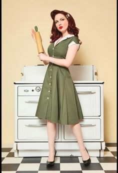 Retro Rockabilly Diner Dress in Olive Green from Heartbreaker - I will take this as well, please. I wish to have it delivered to my home forthwith. No, I don't have the money for it... but I will!! What do you mean you don't allow trial periods? ;_;