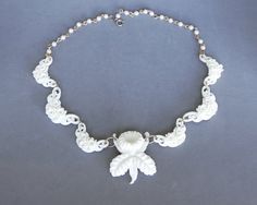 Vintage White Celluloid Necklace Molded Flowers Orchid 1940s Early Plastic Japan