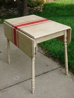 """Grain Sack"" painted drop leaf table."
