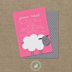 Girl Sheep Baby Shower Invitation (DIY Printables) on Etsy, $15.00