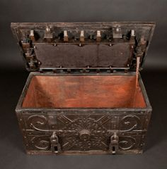 Massive German Strong Box with Decorative Iron Work (1650)