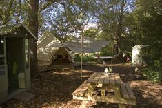 Bell Tent Area - this is a cool idea for a permanent tent idea