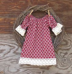 Girls Lace Dress, Girls summer Dress, Girls Peasant Dress, Maroon Quatrefoil Dress,  All sizes by SouthernSister2 on Etsy https://www.etsy.com/listing/209658646/girls-lace-dress-girls-summer-dress