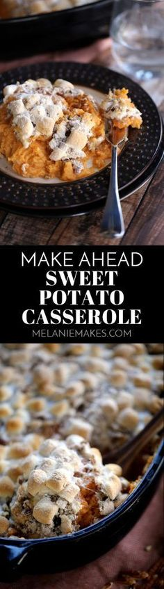 This Make Ahead Sweet Potato Casserole is perfect as it allows you to - as the name implies! - make it ahead of time and serve when you're ready. Thanksgiving Recipes, Fall Recipes, Holiday Recipes, Thanksgiving 2017, Good Food, Yummy Food, Delicious Recipes, Amazing Recipes, Yummy Yummy