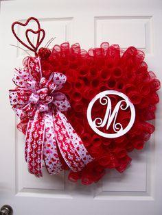 Valentine Mesh Wreath,Initial Valentine Mesh Wreath,Heart Mesh Wreath,Valentine Heart Wreath by CherylsCrafts1 on Etsy