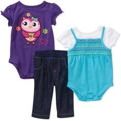 Garanimals Newborn Girls' 3-Piece Creeper and Pants Set