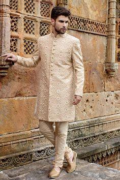 Light #cream banarasi ravishing #jodhpuri bandh gala #sherwani with standing collar-IW264