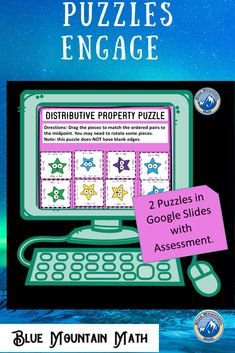Students practice using the distributive property, both in distributing and combining like terms, in these 2 puzzles in google slides. There are 2 puzzles--one in each simple level and challenging level. In the simpler level, the outside edges are blank, so if students are having difficulty, have them arrange the pieces so the blank sides are on the outside.