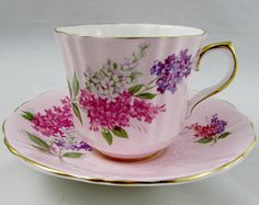 Old Royal Pink Tea Cup and Saucer with Hydrangea Flowers, Vintage Bone China, Teacup and Saucer