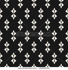 Geometric seamless pattern. Abstract monochrome background with curved shapes, rhombuses, feathers. Black and white repeat texture, art deco style. Dark ornament design for decoration. - Stock vector