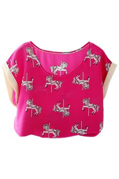 Little Horse Print Rose T-shirt. Description Rose T-shirt, featuring scoop neck, horse print throughout, magyar sleeves, loose styling and all in soft-touch. Fabric Chiffon Washing Cool hand wash with similar colours, do not tumble dry. #Romwe