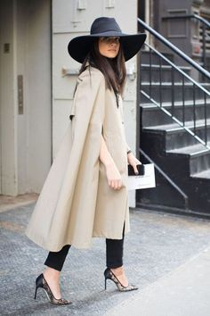 The Best New York Fashion Week Street Style // The hat, the Cape trench, the lace heels.the COAT