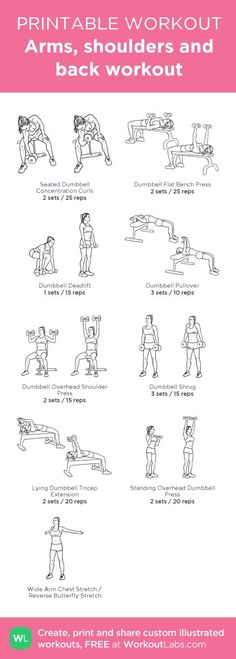Arms, shoulders and back workout - Fitness Body Fitness, Health Fitness, Modelos Fitness, Printable Workouts, Back Exercises, Fitness Workouts Arms, Stretches, Workout Exercises, Workout Fitness