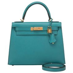 Preowned Hermes Blue Paon Epsom Sellier Kelly 28cm Gold Hardware ($21,275) ❤ liked on Polyvore featuring bags, handbags, blue, genuine leather handbags, leather handbags, leather bags, hermes handbags and 100 leather handbags