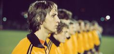 """Johan Cruyff - The finest on field exponent of the total football philosophy and inventor of the """"Cruyff turn"""". He was the major star in the rise of Dutch football in the 1970s under manager Michels. At Barcelona he was the club's greatest icon, returning as manager to guide them to their first European title, developing the Masia academy that produced some of the world's greatest players."""