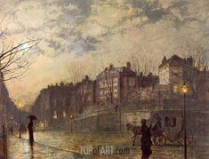 "Known for his city night-scenes and landscapes, John Atkinson Grimshaw was a Victorian artist described by British art historian Christopher Wood as a ""remarkable and imaginative painter"". Hailing from Leeds in England, Grimshaw's first job was Nocturne, Art Painting, Cityscape, Night Scene, Painter, Art Reproductions, Atkinson Grimshaw, Painting, Painting Reproductions"