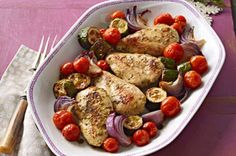 Herb Baked Chicken and Vegetables Recipe - Kraft Canada. Healthy Eating Recipes, Cooking Recipes, What's Cooking, Budget Recipes, Entree Recipes, Ww Recipes, Diabetic Recipes, Healthy Meals, Roast Chicken Recipes