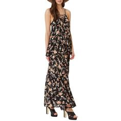 Miss Selfridge Floral Maxi Skirt ($70) ❤ liked on Polyvore featuring skirts, black multi, tie-dye skirt, flower print skirt, long floral skirts, tied maxi skirt and floral print skirt