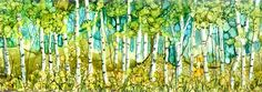 """Birch Forest  Alcohol Ink on 4x16"""" tile"""