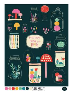 """""""Happy Terrarium"""" By Sara Brezzi Art Illustration and Pattern - Global Talent Search 2014 entry."""