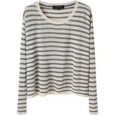 Rag & Bone Hamilton Boxy Tee ($98) ❤ liked on Polyvore featuring tops, sweaters, shirts, long sleeves, extra long sleeve shirts, long sleeve crop top, boat neck crop top, striped top and striped crop top