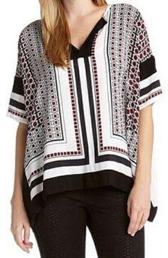 Black and White Kinetic Stripe Kimono Blouse! Awesome Fabric Design!