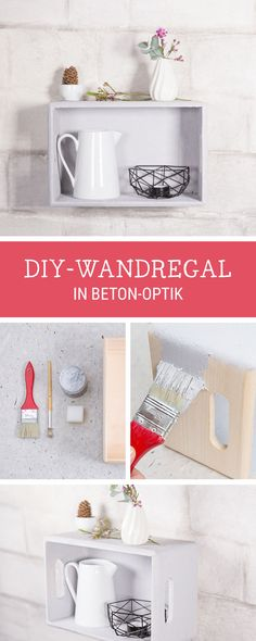 DIY-Anleitung für ein Wandregal in Beton Optik / diy tutorial for a wall rack looking like a concrete surface via DaWanda.com
