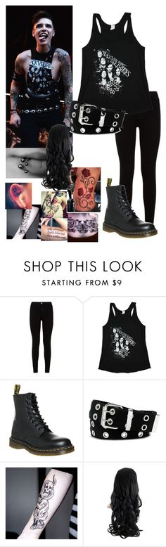 """Female Andy Biersack"" by bands-are-my-savior ❤ liked on Polyvore featuring 7 For All Mankind, Dr. Martens and Relic"