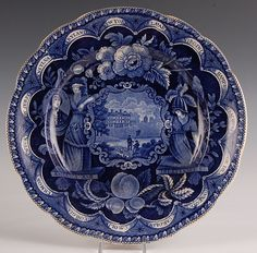 CLEWS 13 COLONIES HISTORICAL BLUE STAFFORDSHIRE PLATE :