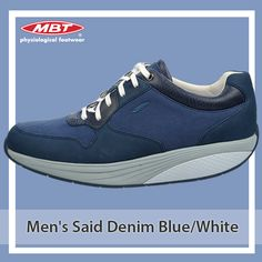Our Men's Said Denim Blue/White is inspired by the classic running shoe, but elevated with MBT's cutting-edge movement technology. For more details Shoe Shops Uk, Runing Shoes, Online Shopping Shoes, Uk Online, Blue Denim, Footwear, Blue And White, Technology, Running