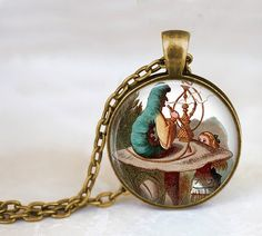 get cool Handcrafted Fine Jewelry,Alice in Wonderland Jewelry,Photo Caterpillar with a Hookah and Alice Glass Pendant Necklace #hookah #shisha #shop #best