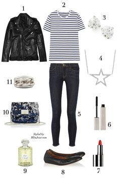 Outfit of the Day No.482 BLK Denim Leather Jacket T by Alexander Wang Stripe Linen T-Shirt Lanvin Ballet Flats Jimmy Choo Sequined Bag