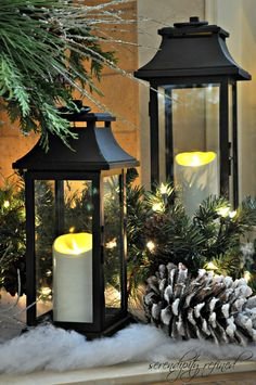 Lanterns add such a beautiful touch!  Lovely for winter! - Mantel Lanterns 2012 by Serendipity Refined
