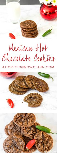 """This spicy Mexican hot chocolate cookie recipe is amazing! If you love chocolate and cinnamon, this will be your """"go to"""" cookie recipe. It tastes just like a Starbucks Chile Mocha!"""