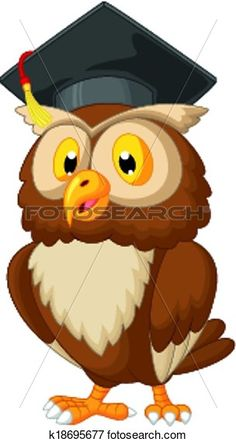 Owl Cartoon Wearing Graduation Cap Clip Art