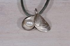 Silver shell and pearl pendant  Wedding/graduation gift idea Jewelry by NyamiJewelry, $85.00
