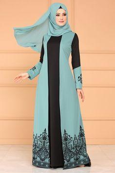 Flocked Printed Dress Mint – Daily Posts for Women Frock Fashion, Abaya Fashion, Modest Fashion, Women's Fashion Dresses, Muslim Women Fashion, Islamic Fashion, Modest Dresses, Modest Outfits, Hijab Evening Dress