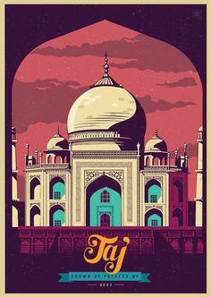 Ideas For Illustration Art Design Poster Inspiration Art And Illustration, Illustrations And Posters, Taj Mahal, Poster Retro, Poster Vintage, India Poster, Pub Vintage, Vintage India, Tourism Poster