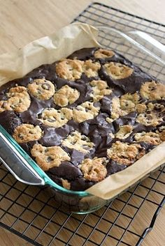 Two of the best possible deserts combined: brownies stuffed with chocolate chip cookies