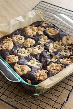 brownies stuffed with chocolate chip cookies