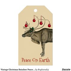 Vintage Christmas Reindeer Peace On Earth Gift Tags Christmas Ribbon, Christmas Gift Tags, Christmas Card Holders, Vintage Christmas, Holiday Cards, Merry Christmas, Retro Christmas Decorations, Gift Wrapping Supplies, Old Newspaper
