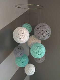 Yarn Ball Mobile in White Gray and Aqua von Backporchcrafts85