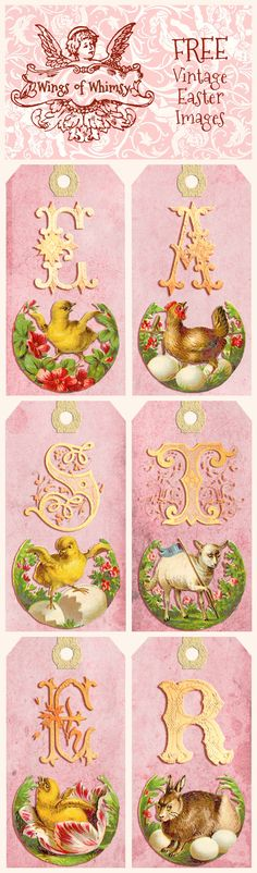 Wings of Whimsy: Vintage Easter Letter Tags -