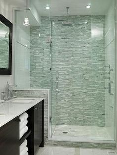 Master Bathroom | Sarah Richardson Design shower tile saltillio tile | I like the look of only using the stacked tile on the back wall, and white on the other two
