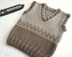 Items similar to Knit baby vest, wool baby tank, knitted brown ves, boys hand knit vest on Etsy Strick Baby Weste Wolle Baby Tank gestrickte braune Ves von KsyuKnitting Baby Knitting Patterns, Hand Knitting, Wool Vest, Knit Vest, Baby Sport, Cardigan Bebe, Toddler Vest, Pull Bebe, Boys Sweaters