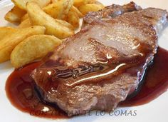 Con tu pan te lo comas: ENTRECOT CON SALSA DE VINO TINTO Types Of Meat, Mexican Food Recipes, Ethnic Recipes, Carne Asada, Le Chef, Spanish Food, Churros, Flan, Omelette